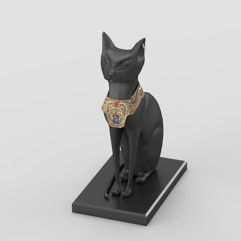 egyptian goddess bastet figurine 3d model