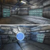 3ds max sci-fi interior scene
