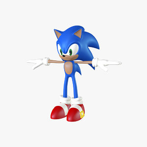 sonic rigged animation 3d model
