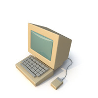 3d model stylized retro pc
