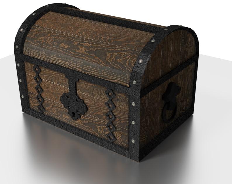 tudor chest metal wood 3d obj