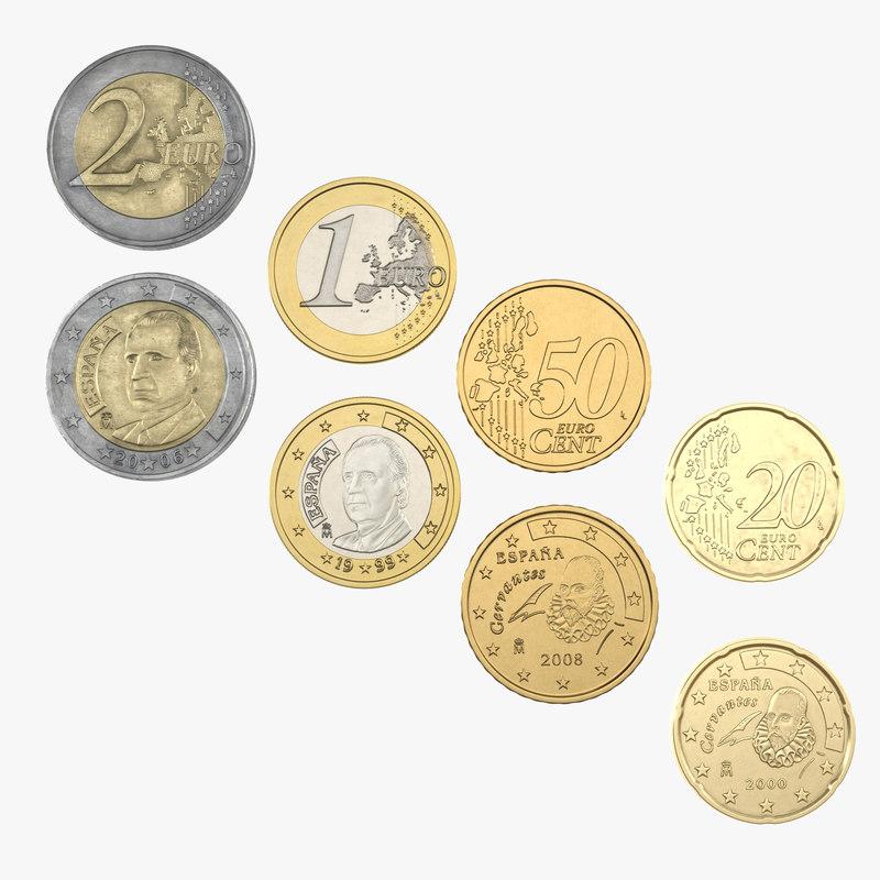 spain euro coins 2 3d model
