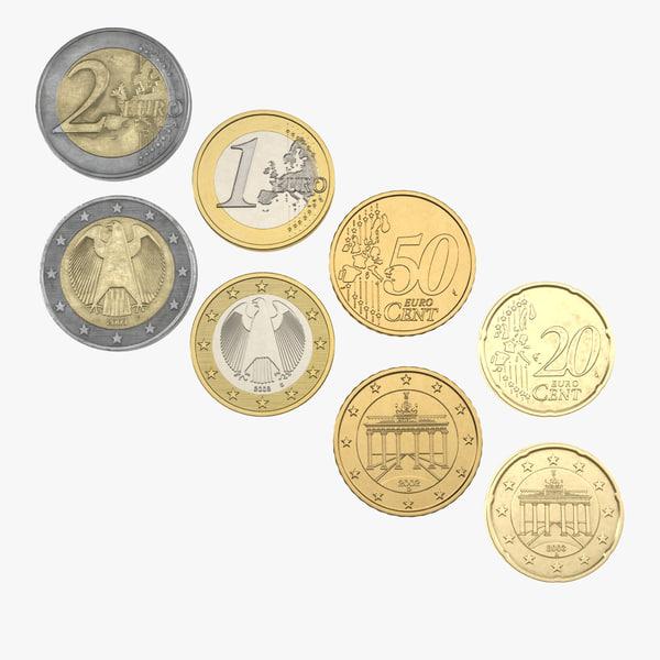 3d german euro coins 2 model
