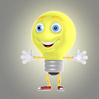 cartoon light bulb lwo