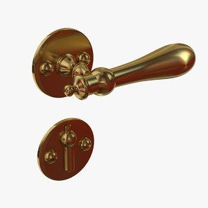 classic door handle brass 3d max