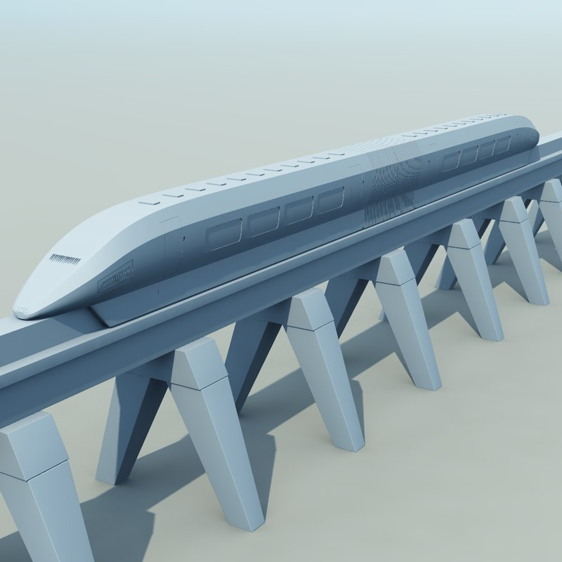 3d train monorail model