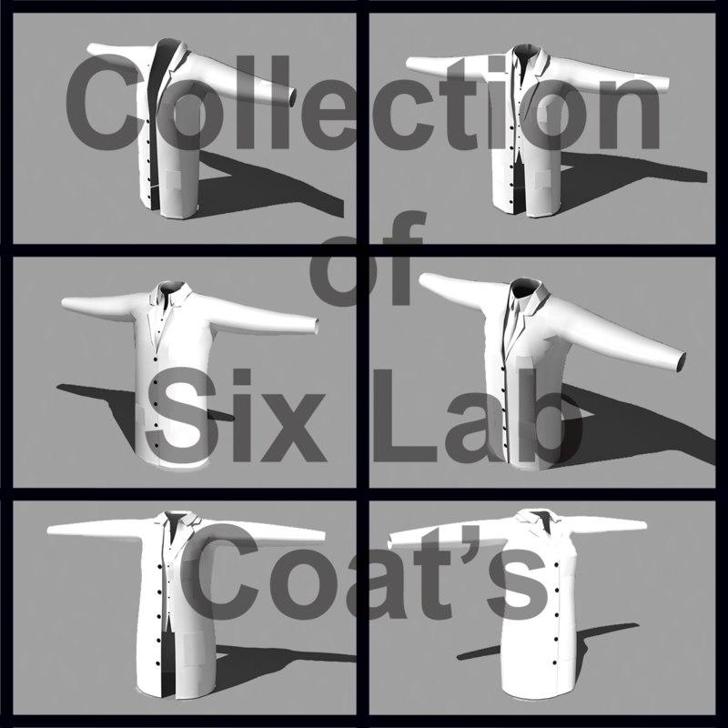 3d 6 lab coats model