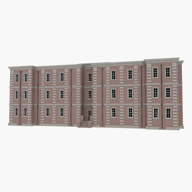 Cheap Apartments Outside Bricks: 3d Model Brick Apartment Building Interior Exterior