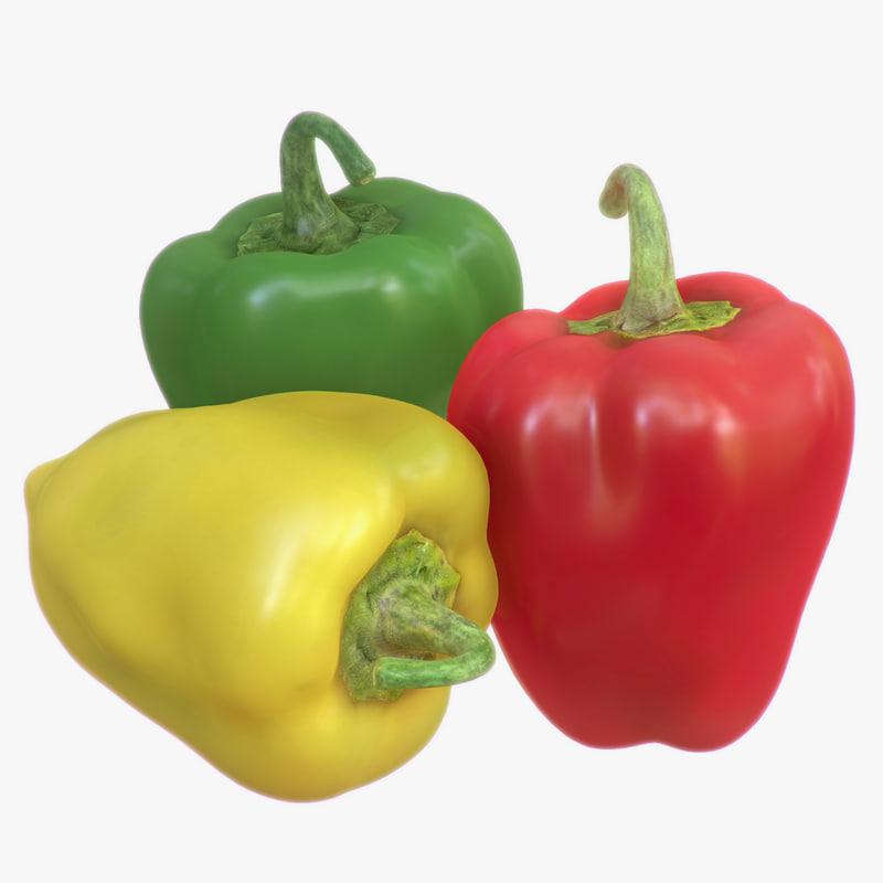 3d model bell pepper pack polys