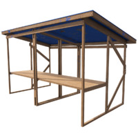 Wooden stall 1 blue - Game ready with PBR textures