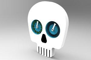 skull head clock 3d max
