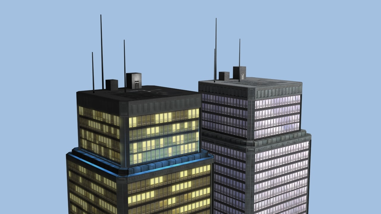 skyscraper night time 3d 3ds