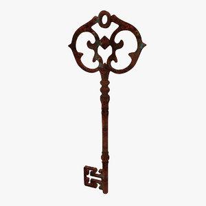 3d model old key antique