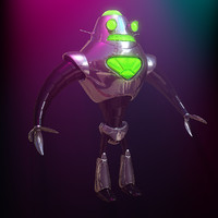 retro robot character 3d c4d