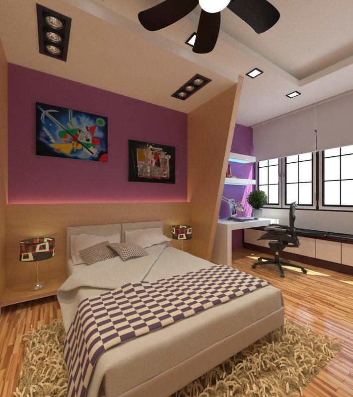 modern bedroom 3d model
