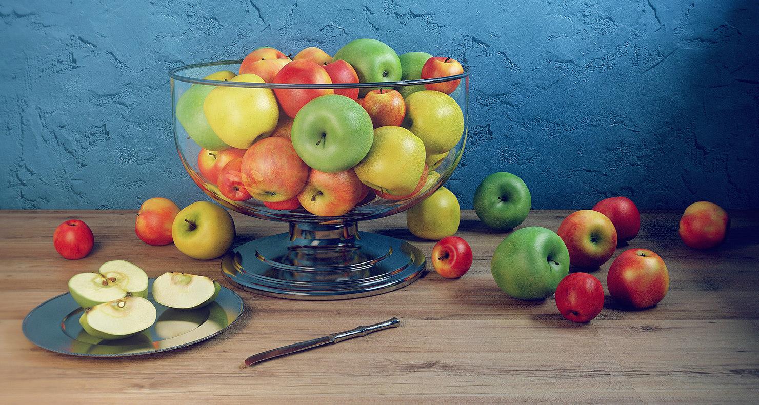 3d model apple set bowl dish