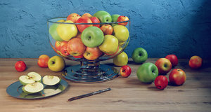 3d model apple set bowl dish