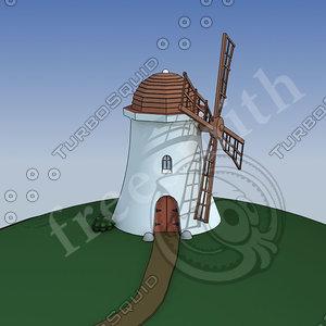 3d model cartoon windmill