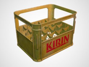 worn kirin beer case 3d model