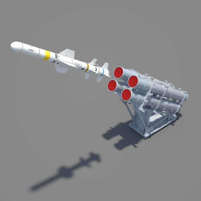 rgm-84 harpoon mk-141 guided missile 3d max