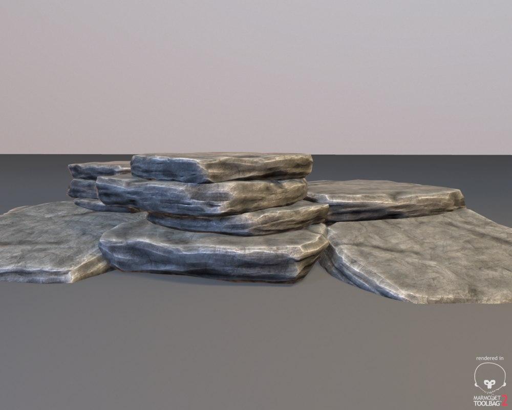 ready layered rock 3d model