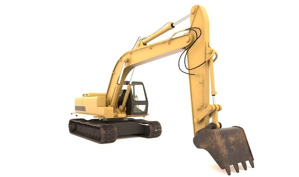 3d model rigging excavator