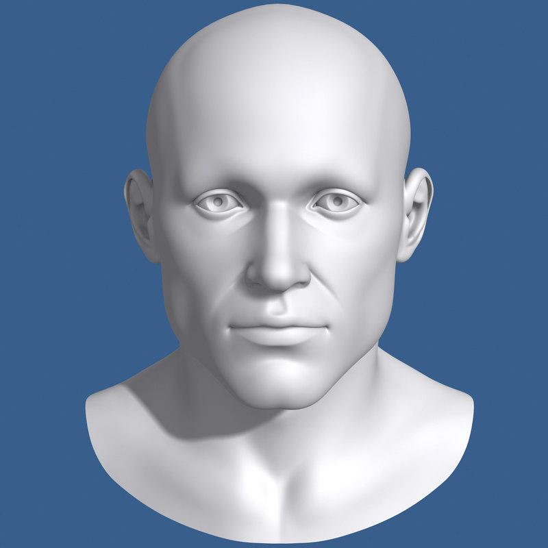 3d model polygonal male head