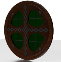 Tudor round window medieval green wood