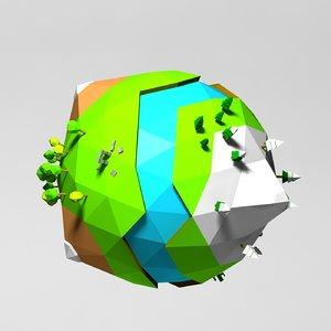 planet cartoon toon 3d 3ds
