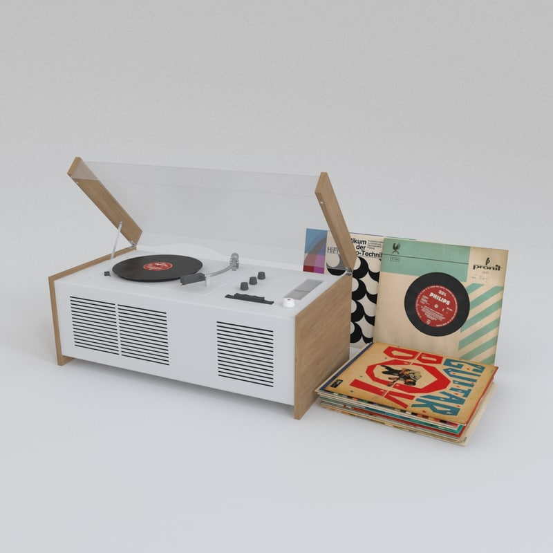 braun sk55 record player 3d max