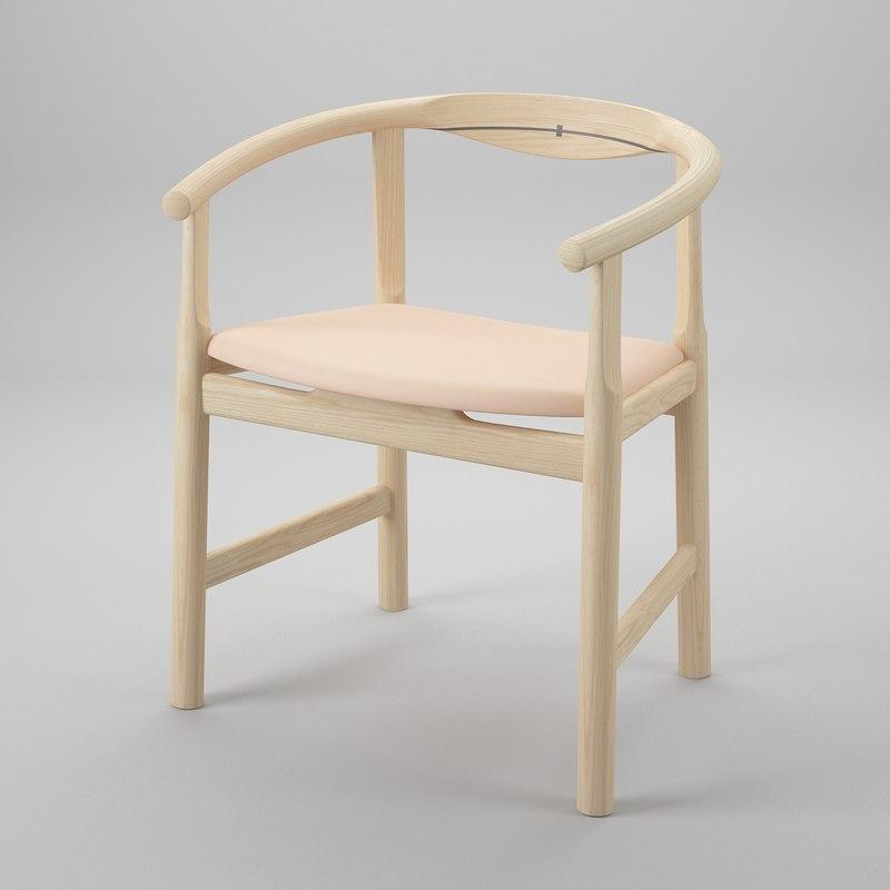 3d model wegner pp203 chair hans j