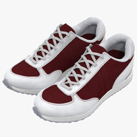 sneakers 3 red modeled 3d 3ds