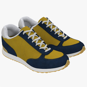 sneakers 3 yellow modeled 3d 3ds