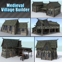 pack medieval village houses 3ds