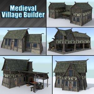 pack medieval village houses 3ds