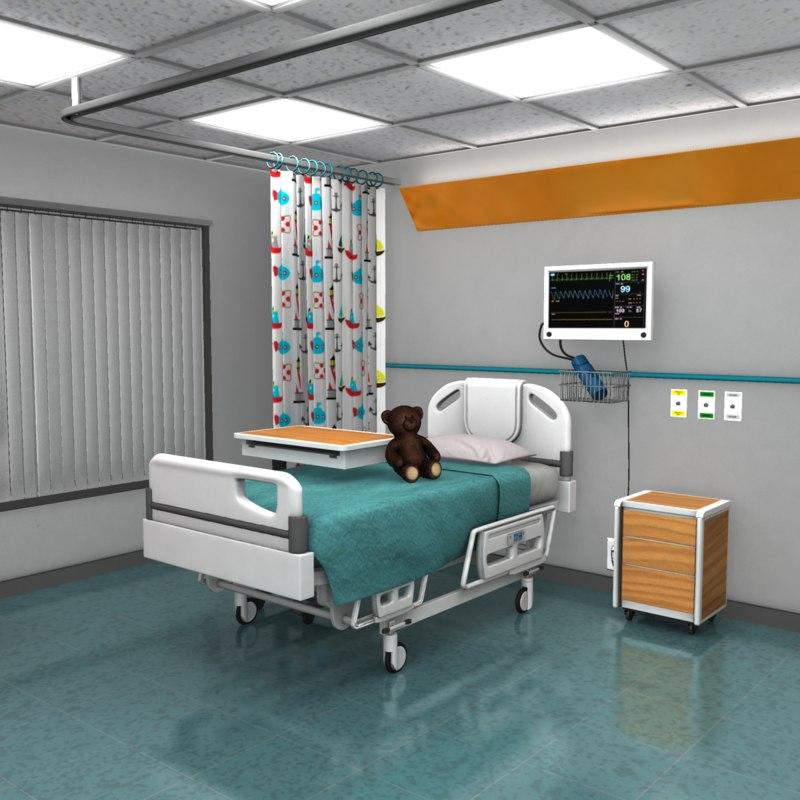 children s hospital room obj