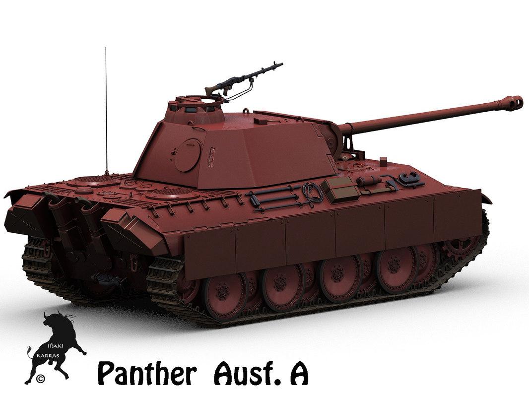 3d obj panther german tank