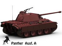 3d obj panther german tank