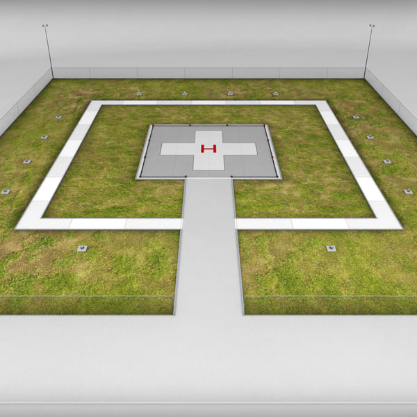3ds helicopter helipad ground