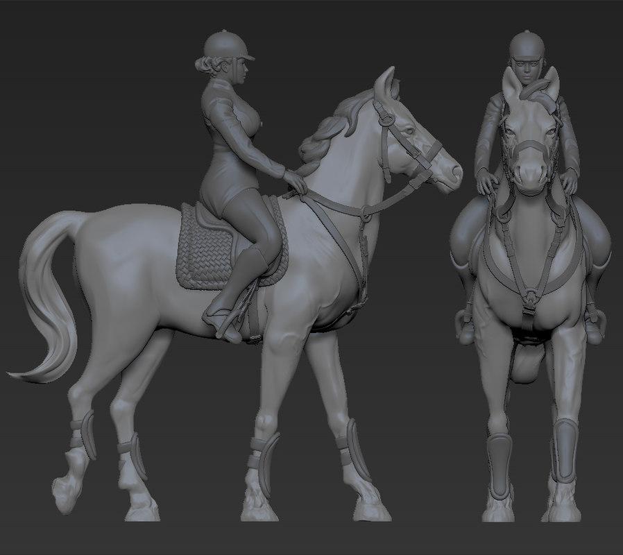statuette horse jockey 3d model