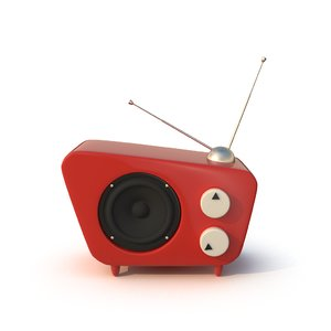 3d model of stylized cartoon radio