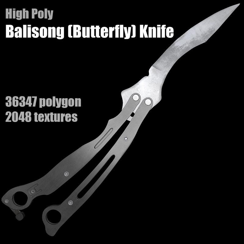 3d balisong butterfly knife model
