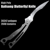 3d balisong butterfly knife model
