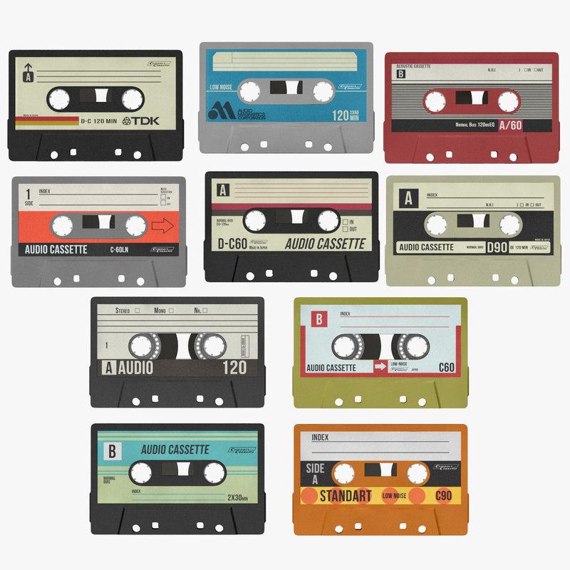 3d cassettes rendering plastic