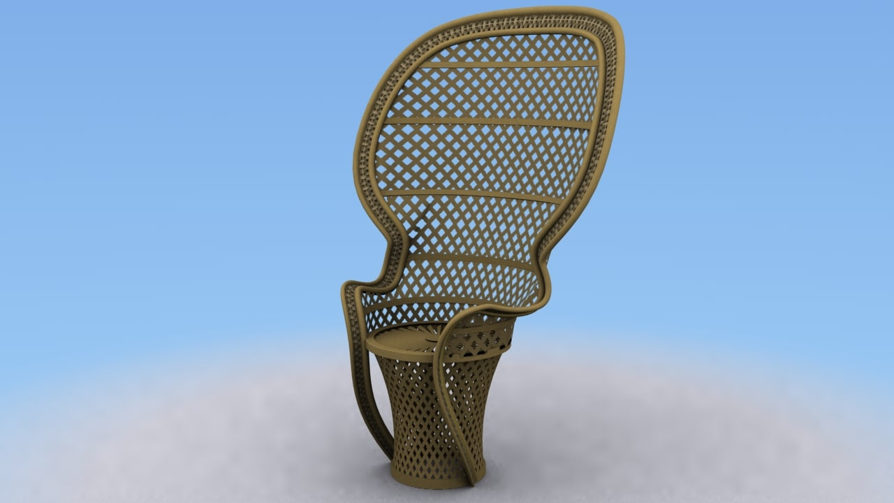 3d wicker fan chair model