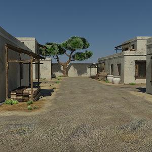 3d model - desert village environment