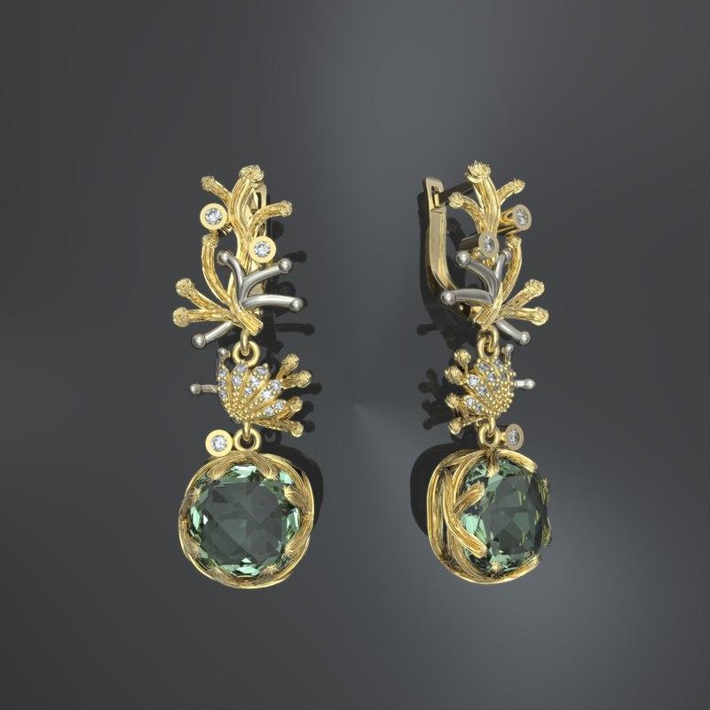 3d gold earrings print