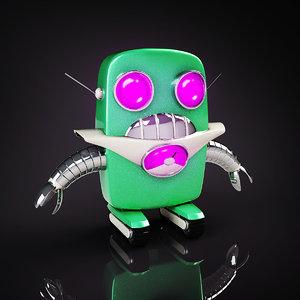 3d cute robot tracks