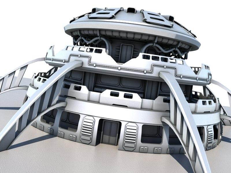 futuristic sci fi building 3d model