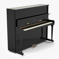 3d model black piano upright 1